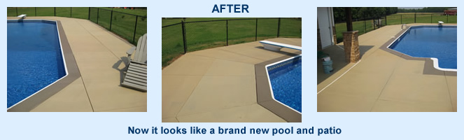 pool surround beautifully restored with concrete stain